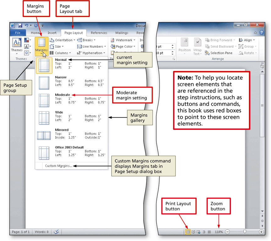 how to create a table of margins on word