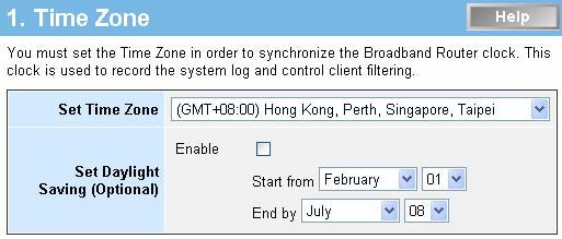 Quick Setup On the main webpage, select Quick Setup to setup the Time Zone and the WAN Type.