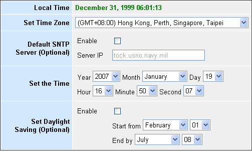 System Time Connecting to a Simple Network Time Protocol (SNTP) server allows the LKR-604 Broadband Router to synchronize the system clock to the global