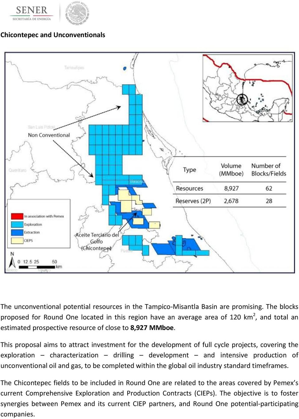This proposal aims to attract investment for the development of full cycle projects, covering the exploration characterization drilling development and intensive production of unconventional oil and