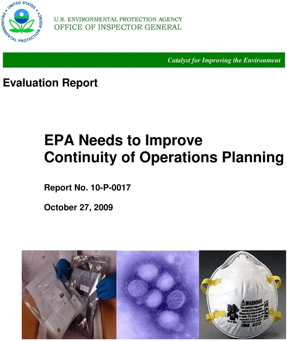 Improving the Environment EPA Needs to Improve