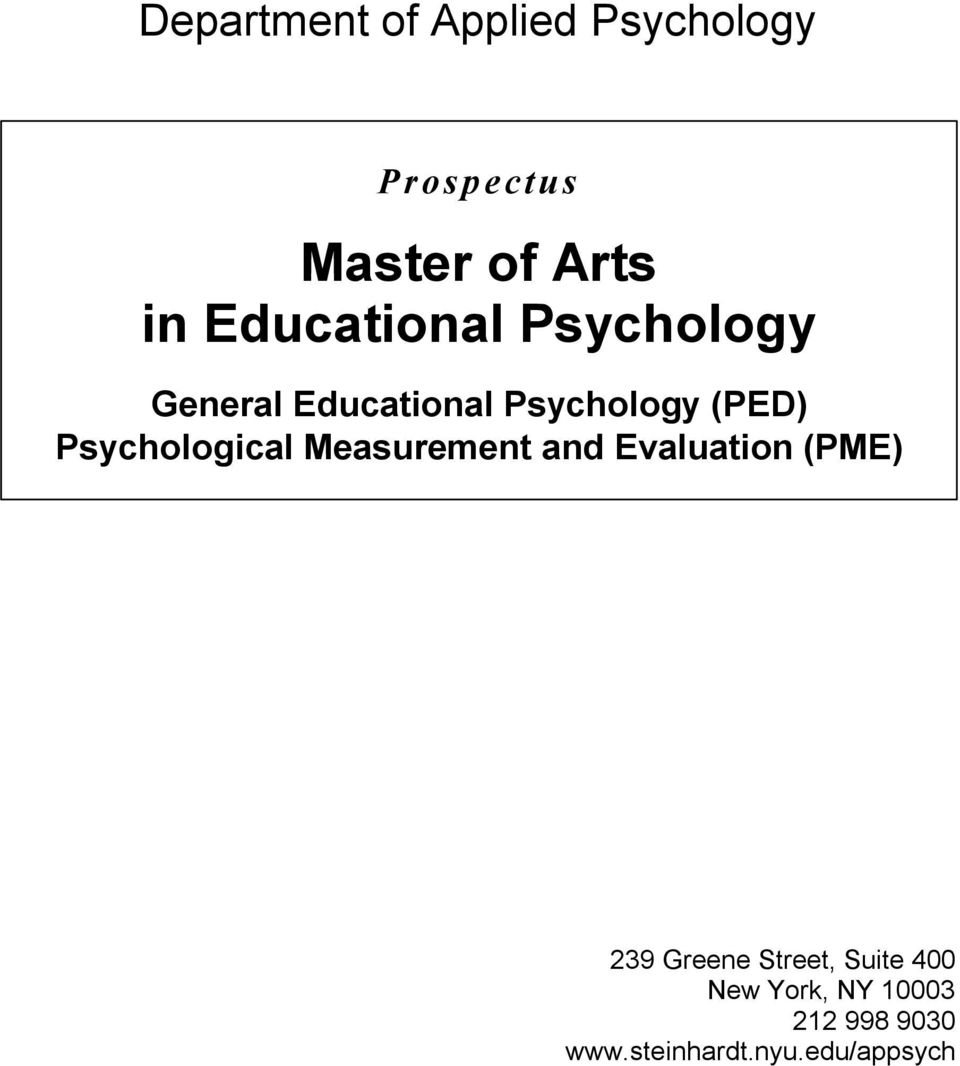 Psychological Measurement and Evaluation (PME) 239 Greene