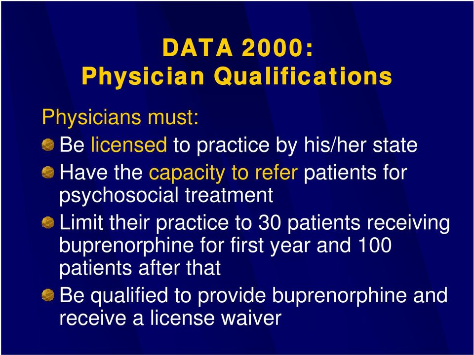 Limit their practice to 30 patients receiving buprenorphine for first year and