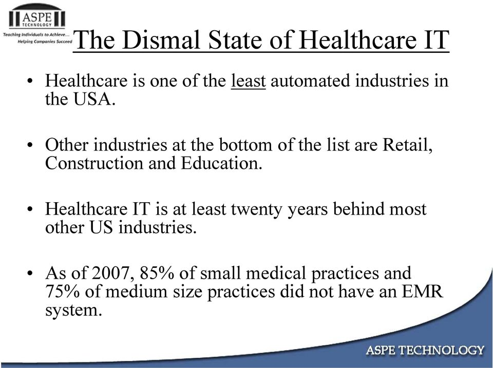 Other industries at the bottom of the list are Retail, Construction and Education.