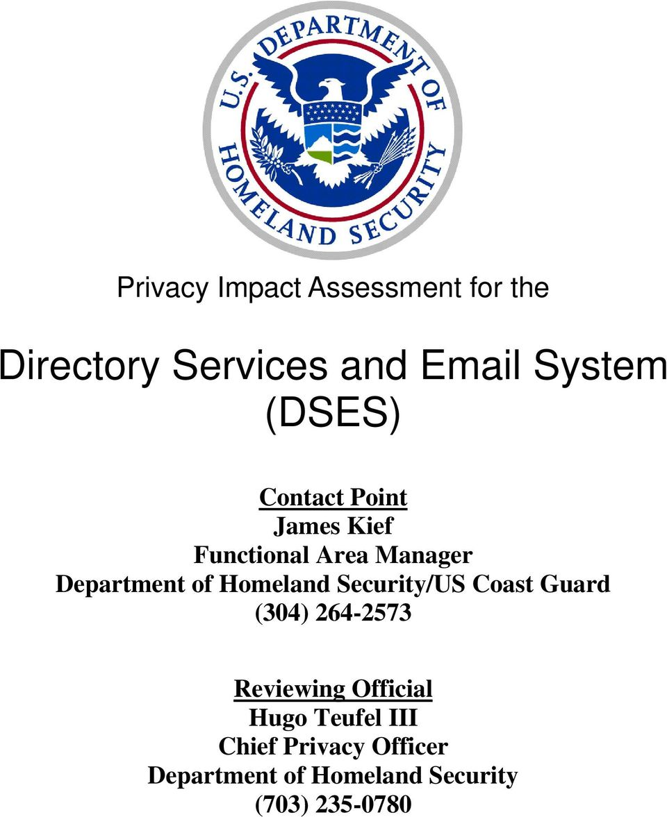 Security/US Coast Guard (304) 264-2573 Reviewing Official Hugo