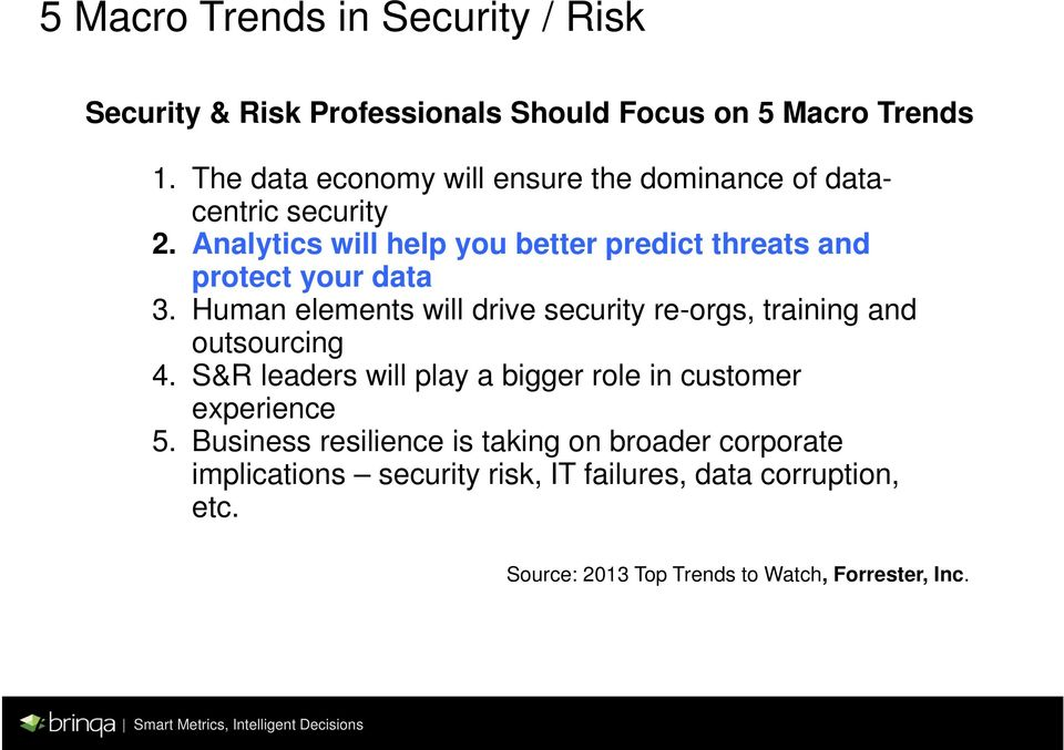 Analytics will help you better predict threats and protect your data 3.