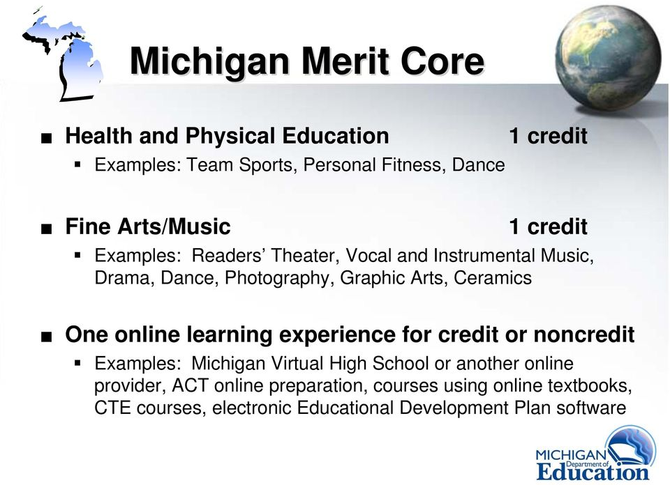 Ceramics One online learning experience for credit or noncredit Examples: Michigan Virtual High School or another