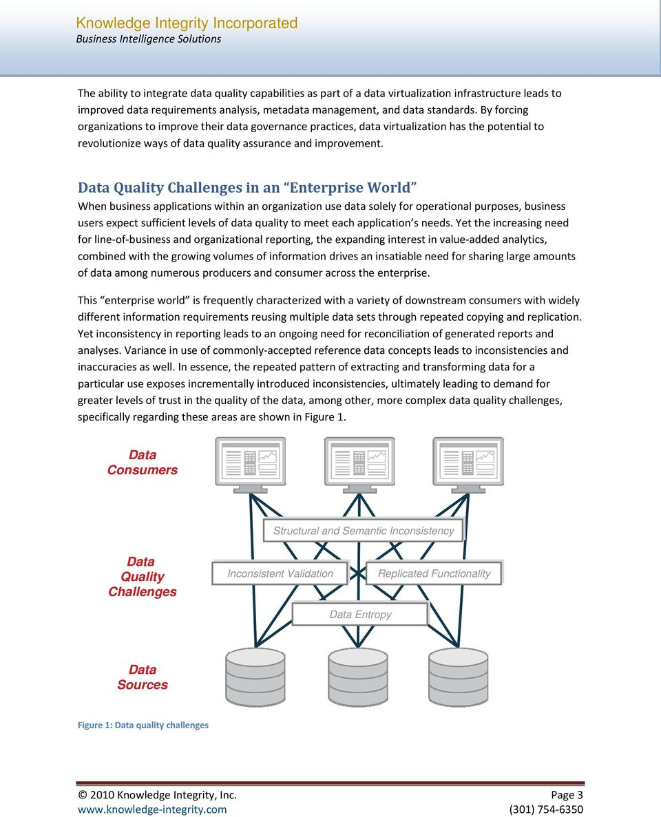 Data Quality Challenges in an Enterprise World When business applications within an organization use data solely for operational purposes, business users expect sufficient levels of data quality to