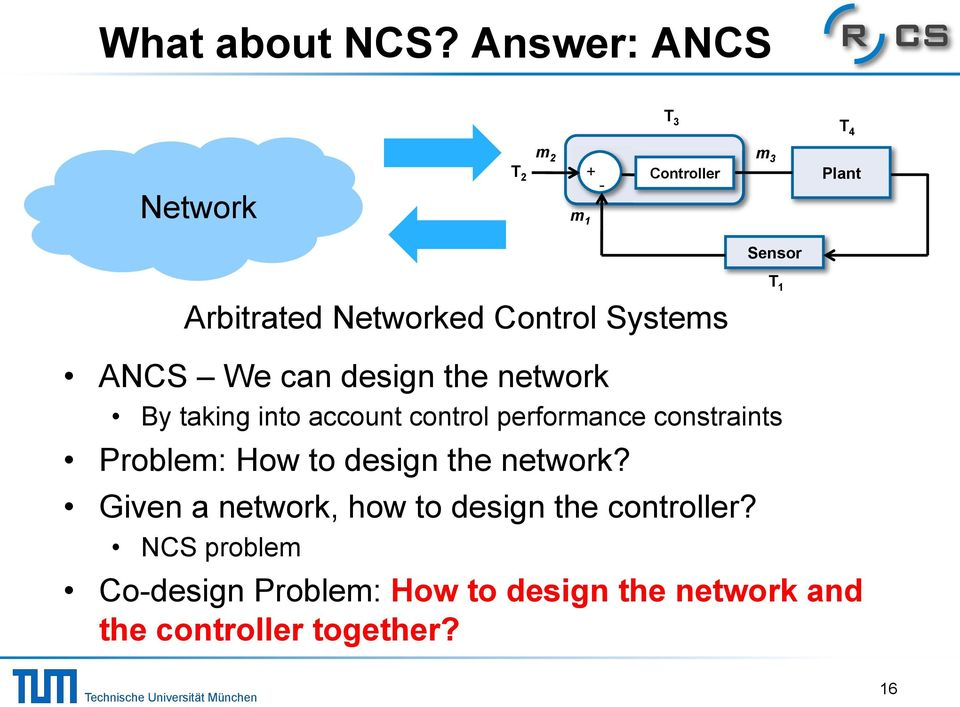 Control Systems T 1! ANCS We can design the network!