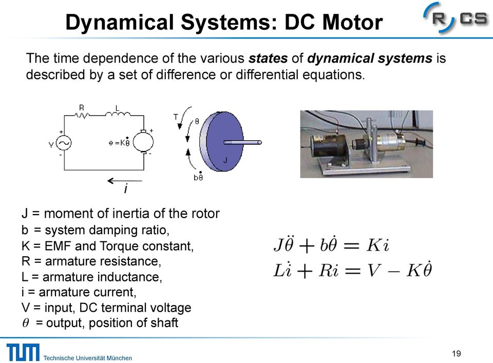 J = moment of inertia of the rotor b = system damping ratio, K = EMF and Torque constant, R =