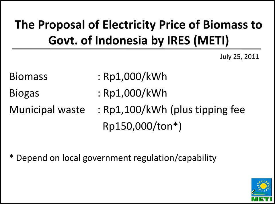 Municipal waste : Rp1,000/kWh : Rp1,000/kWh : Rp1,100/kWh (plus