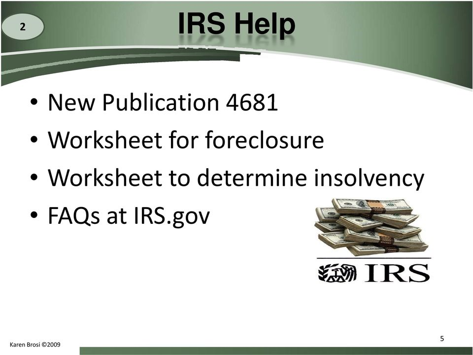 foreclosure Worksheet to