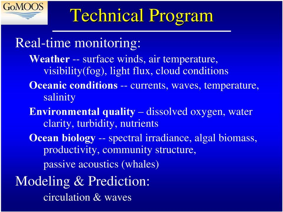 dissolved oxygen, water clarity, turbidity, nutrients Ocean biology -- spectral irradiance, algal