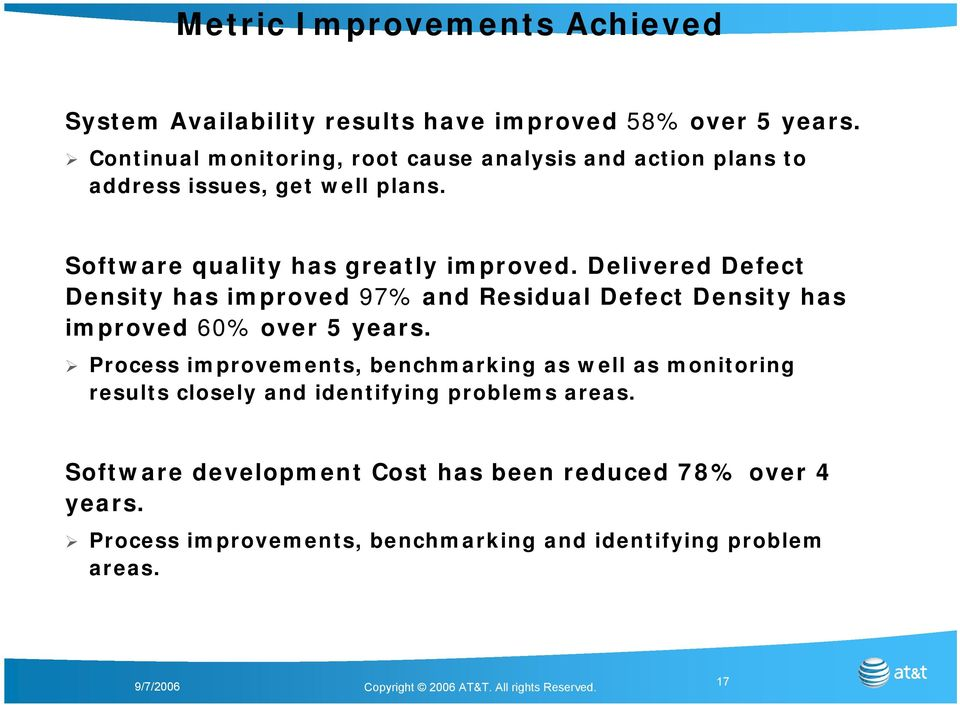Delivered Defect Density has improved 97% and Residual Defect Density has improved 60% over 5 years.