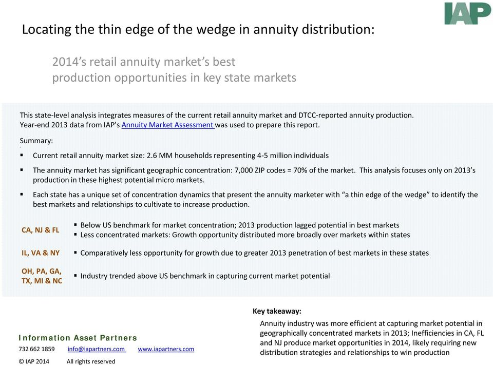 Summary: Current retail annuity market size: 2.6 MM households representing 4 5 million individuals The annuity market has significant geographic concentration: 7,000 ZIP codes = 70% of the market.