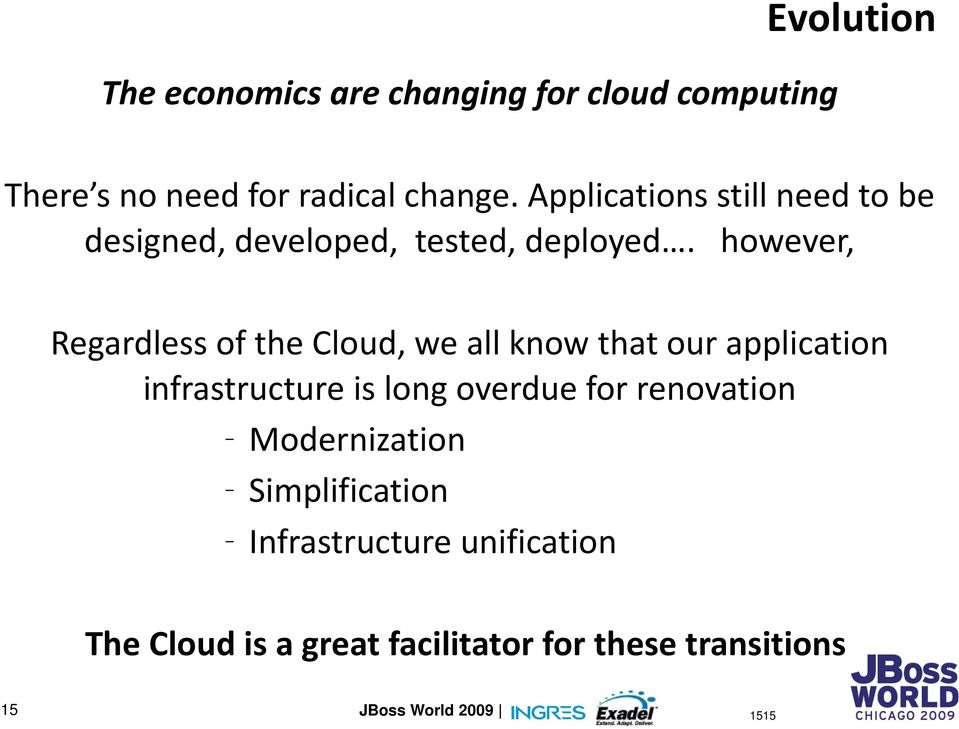 however, Regardless of the Cloud, we all know that our application infrastructure is long overdue