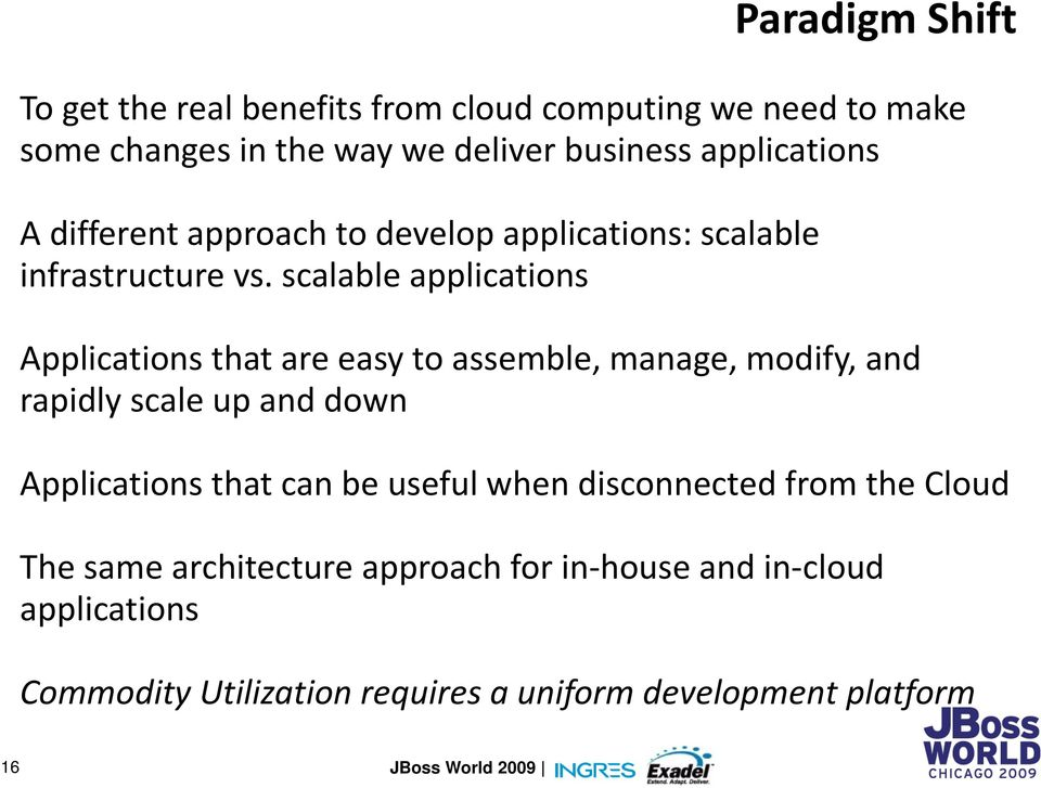 scalable applications Applications that are easy to assemble, manage, modify, and rapidly scale up and down Applications that