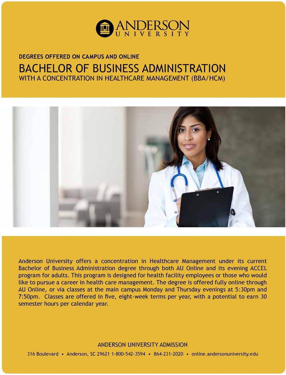 This program is designed for health facility employees or those who would like to pursue a career in health care management.