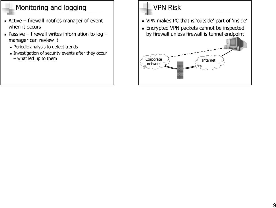 events after they occur what led up to them VPN Risk VPN makes PC that is outside part of inside