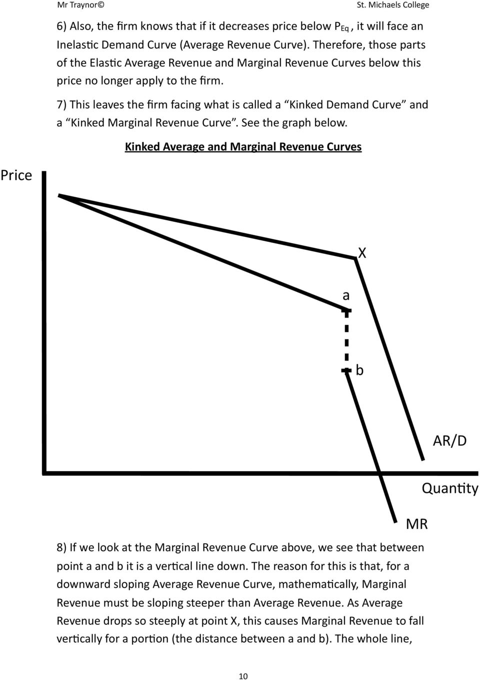 7) This leaves the firm facing what is called a Kinked Demand Curve and a Kinked Marginal Revenue Curve. See the graph below.