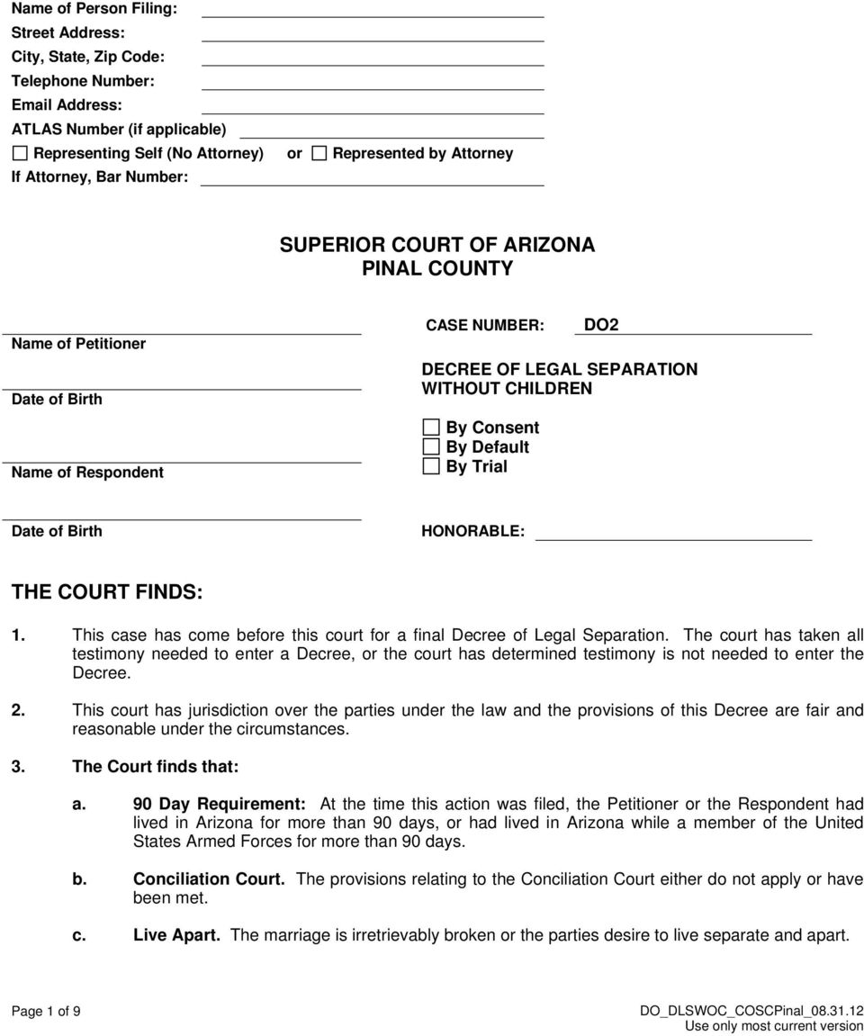 Birth HONORABLE: THE COURT FINDS: 1. This case has come before this court for a final Decree of Legal Separation.