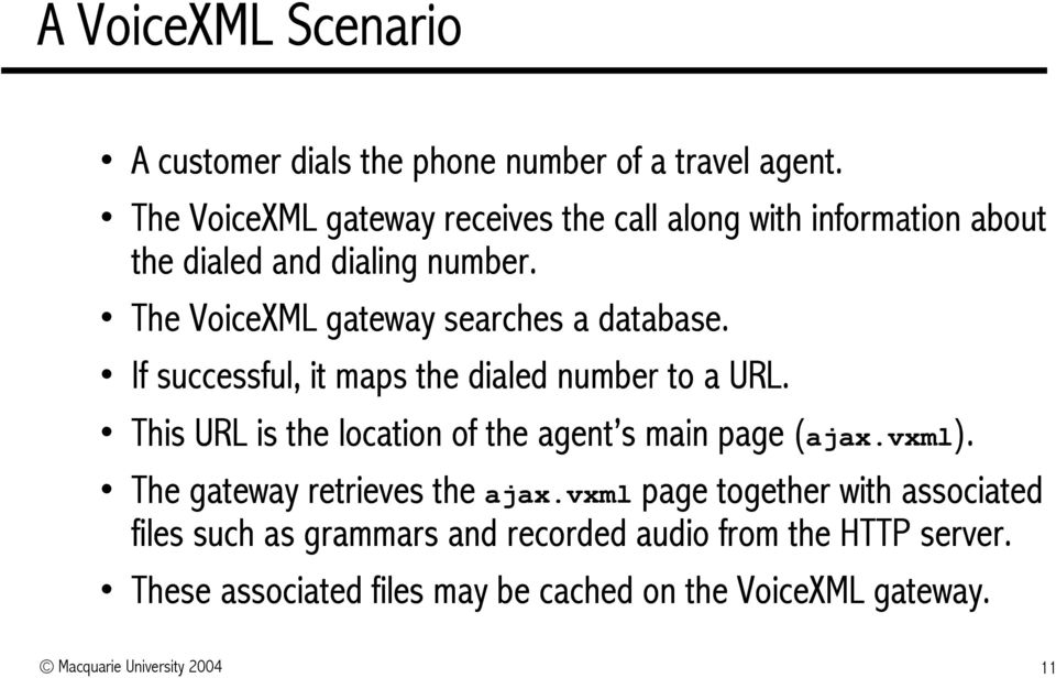 The VoiceXML gateway searches a database. If successful, it maps the dialed number to a URL.