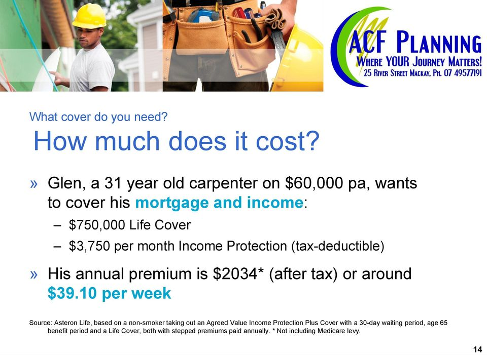 Income Protection (tax-deductible)» His annual premium is $2034* (after tax) or around $39.