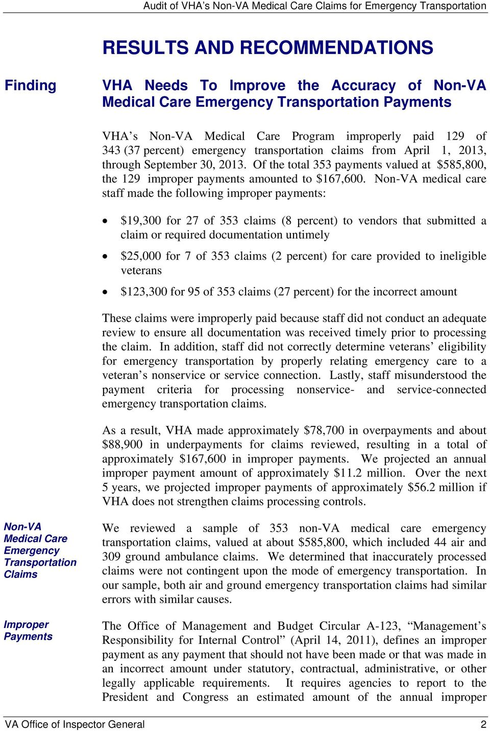 Non-VA medical care staff made the following improper payments: $19,300 for 27 of 353 claims (8 percent) to vendors that submitted a claim or required documentation untimely $25,000 for 7 of 353