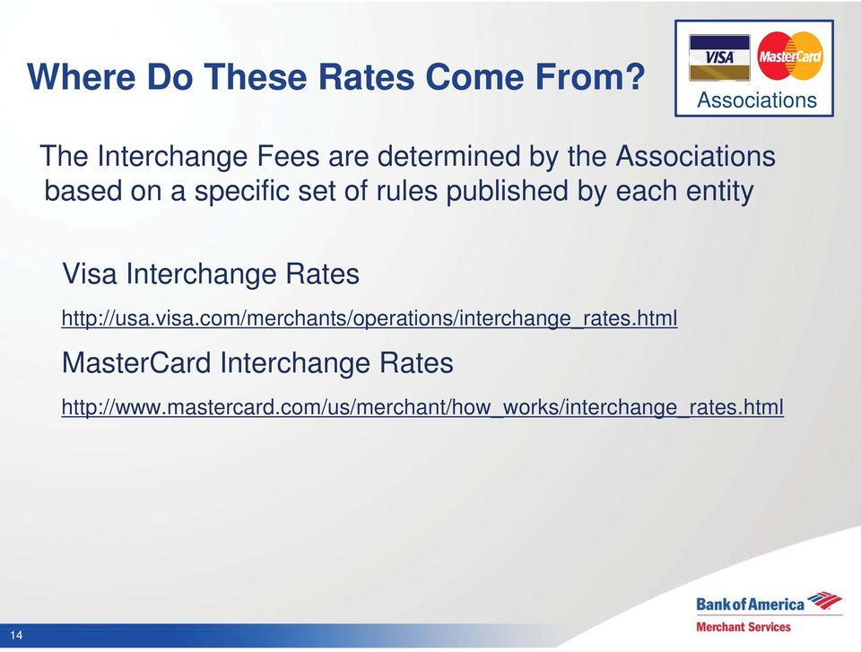 specific set of rules published by each entity Visa Interchange Rates http://usa.visa.