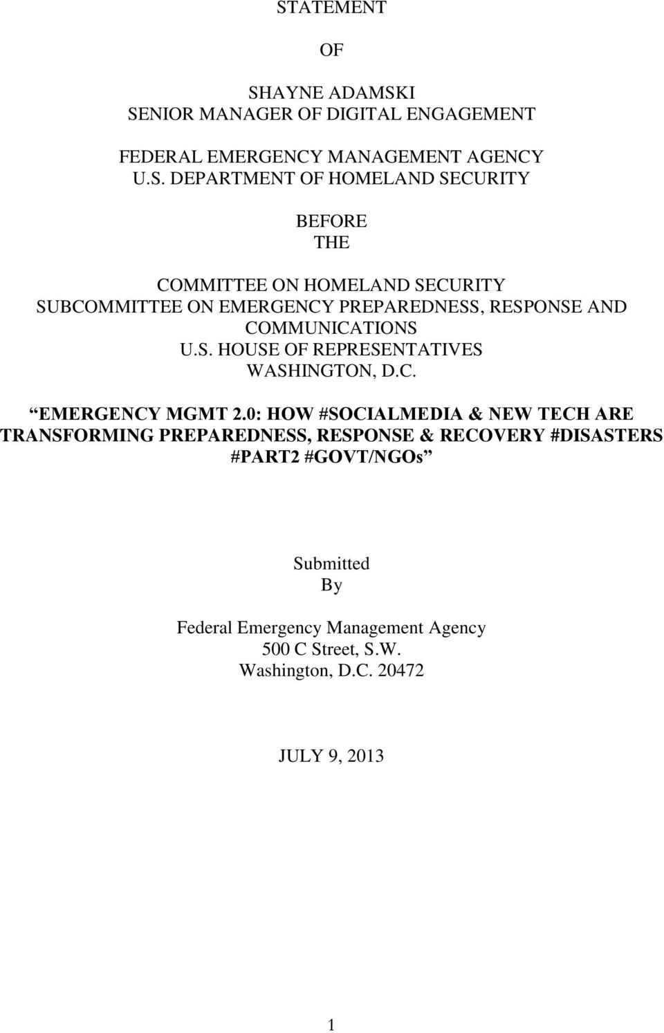 C. EMERGENCY MGMT 2.
