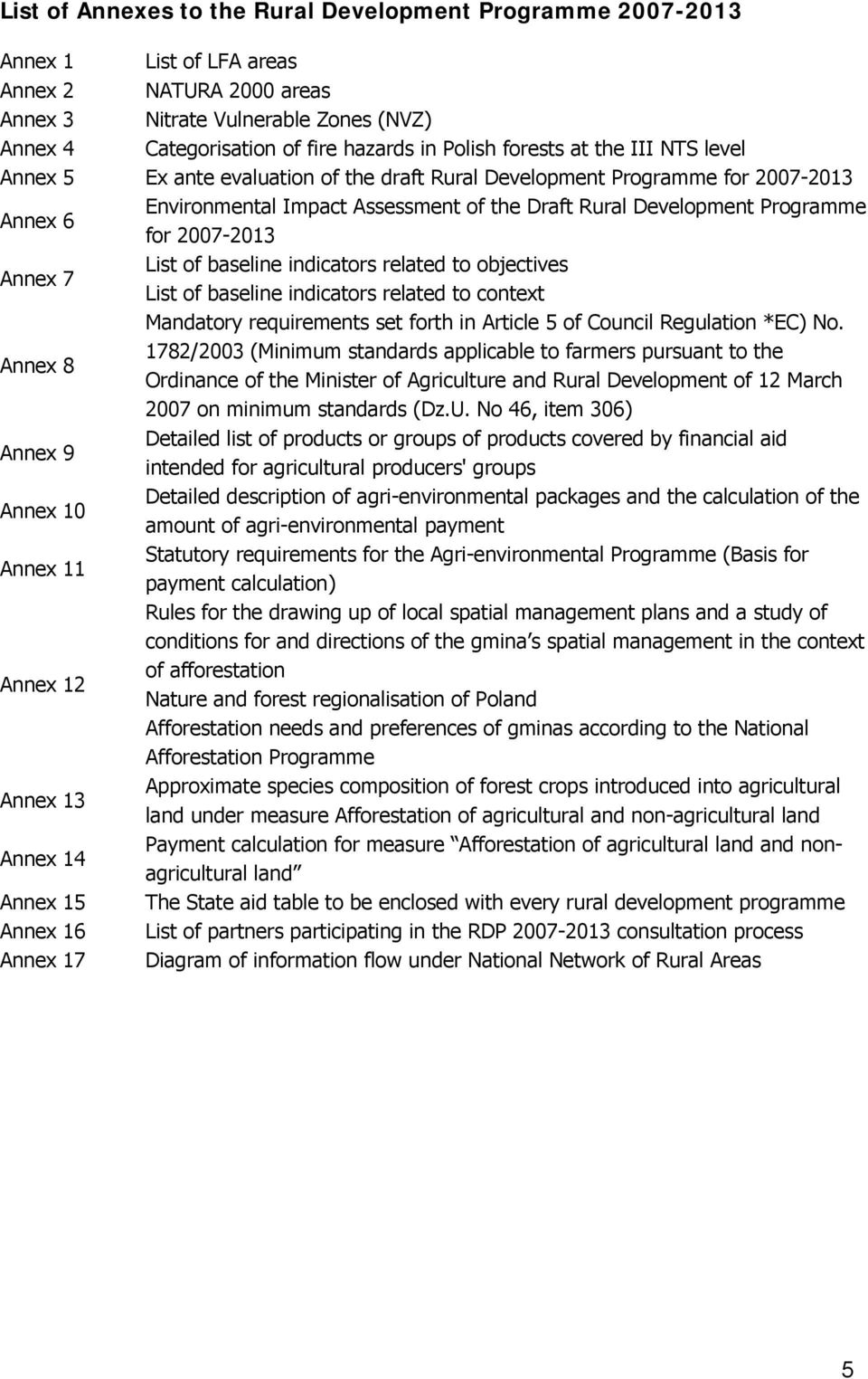 for 2007-2013 Annex 7 List of baseline indicators related to objectives List of baseline indicators related to context Mandatory requirements set forth in Article 5 of Council Regulation *EC) No.