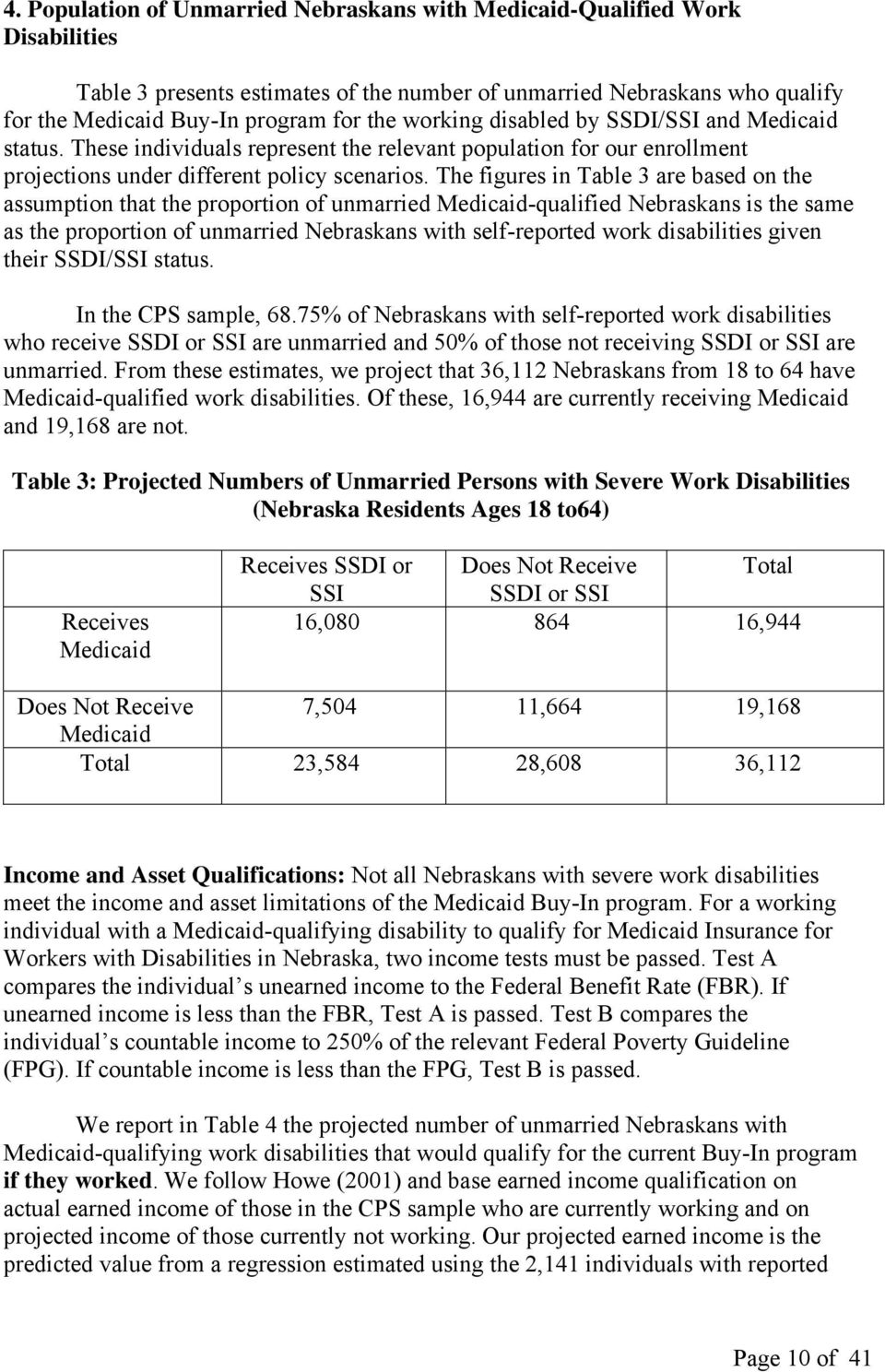 The figures in Table 3 are based on the assumption that the proportion of unmarried Medicaid-qualified Nebraskans is the same as the proportion of unmarried Nebraskans with self-reported work
