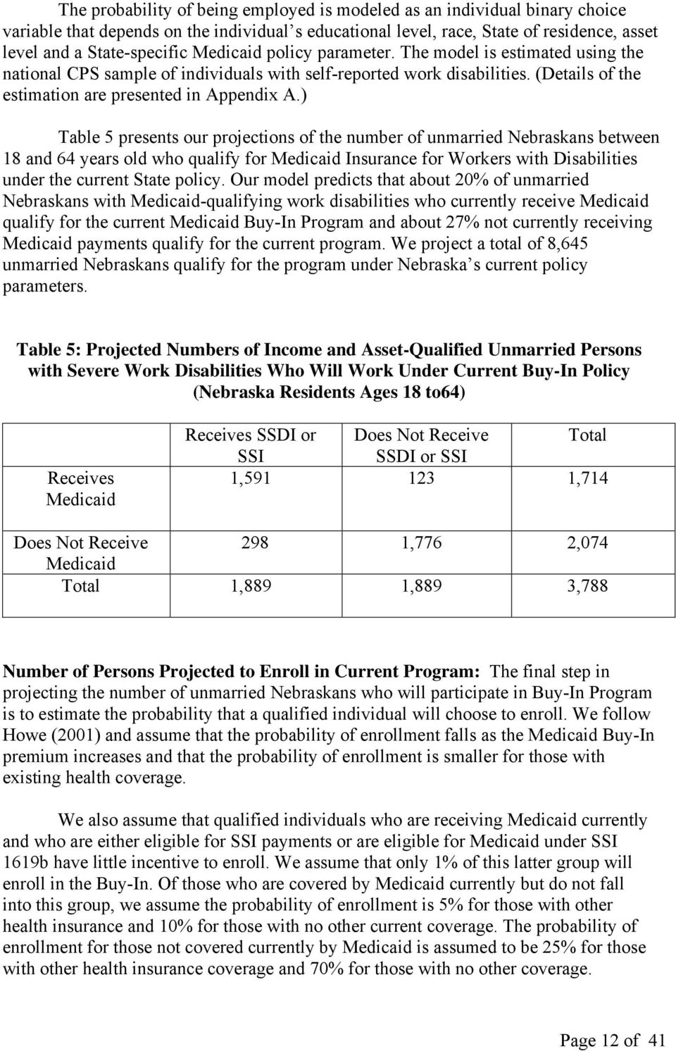 ) Table 5 presents our projections of the number of unmarried Nebraskans between 18 and 64 years old who qualify for Medicaid Insurance for Workers with Disabilities under the current State policy.
