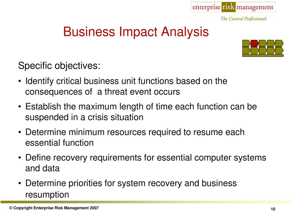 minimum resources required to resume each essential function Define recovery requirements for essential computer