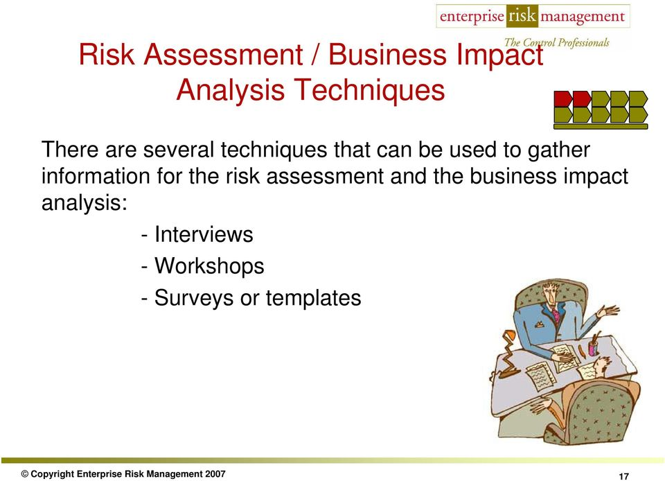 risk assessment and the business impact analysis: - Interviews -