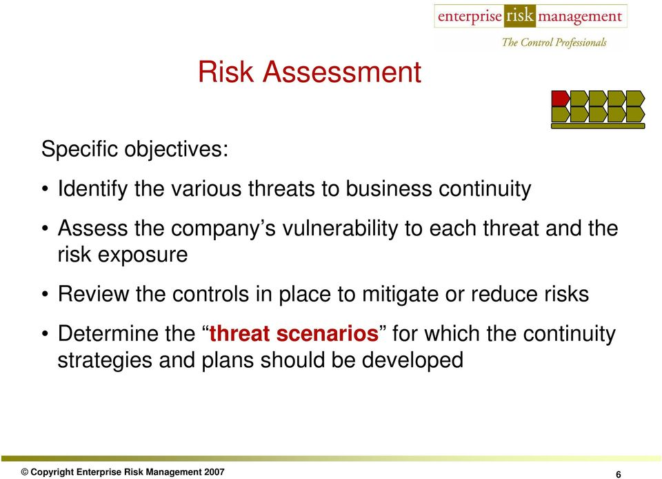 controls in place to mitigate or reduce risks Determine the threat scenarios for which