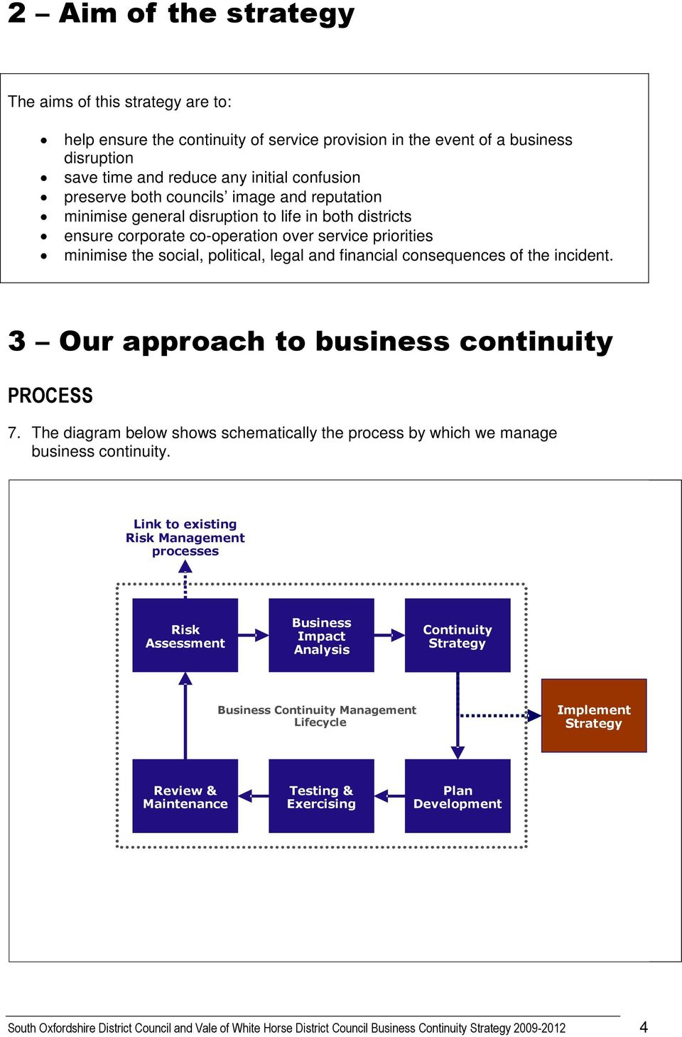 consequences of the incident. 3 Our approach to business continuity PROCESS 7. The diagram below shows schematically the process by which we manage business continuity.