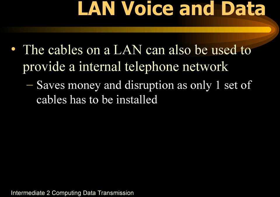 telephone network Saves money and