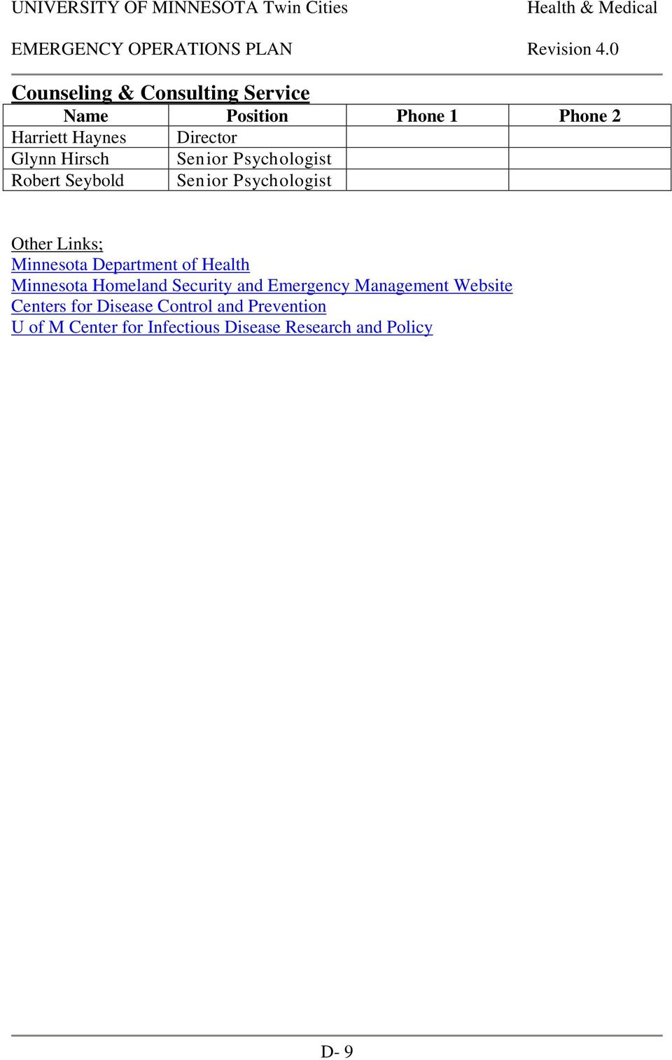 Department of Health Minnesota Homeland Security and Emergency Management Website Centers