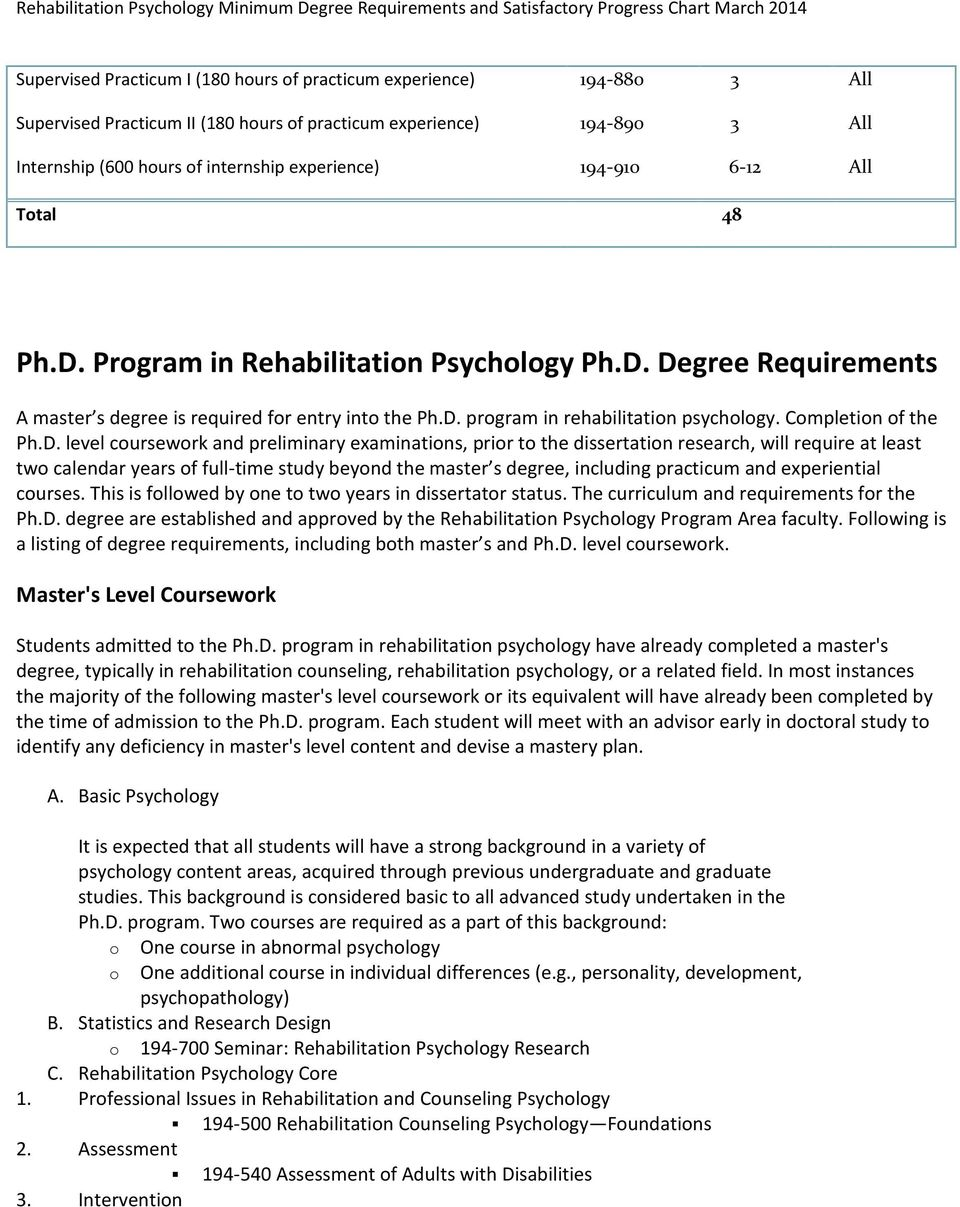D. prgram in rehabilitatin psychlgy. Cmpletin f the Ph.D. level cursewrk and preliminary examinatins, prir t the dissertatin research, will require at least tw calendar years f full-time study beynd