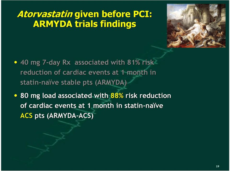 naïve stable pts (ARMYDA)( 80 mg load associated with 88% risk reduction of