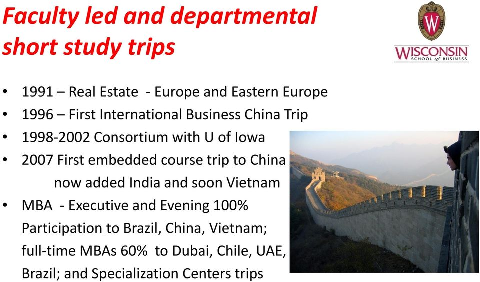 course trip to China now added India and soon Vietnam MBA Executive and Evening 100% Participation
