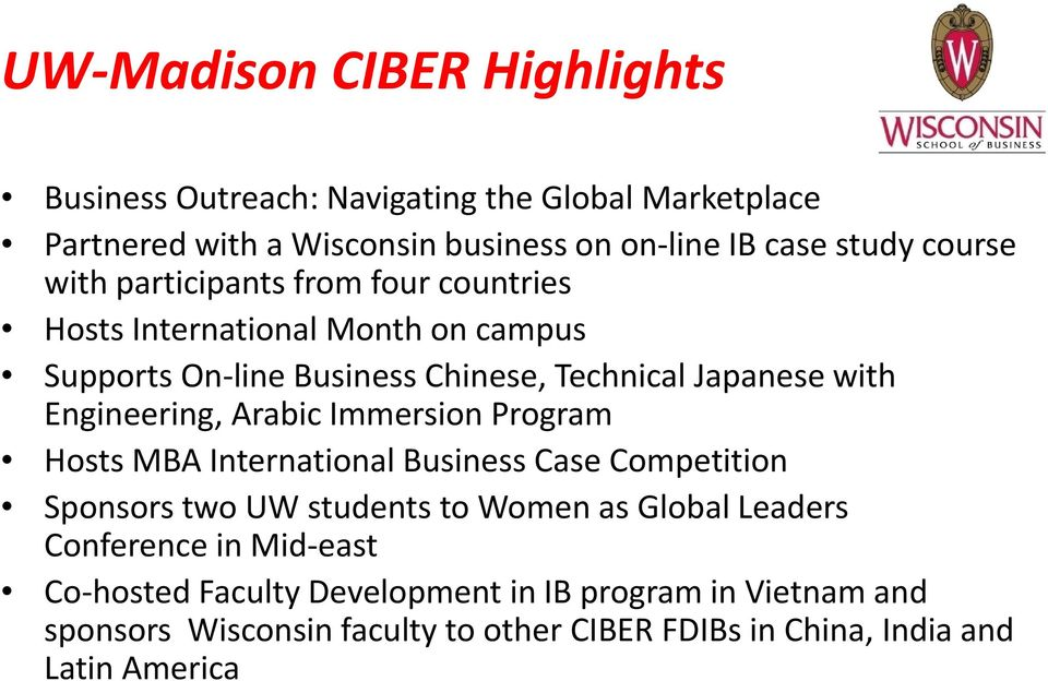 Engineering, Arabic Immersion Program Hosts MBA International Business Case Competition Sponsors two UW students to Women as Global Leaders