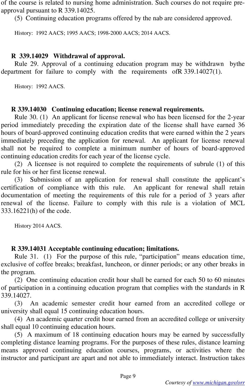 Approval of a continuing education program may be withdrawn bythe department for failure to comply with the requirements ofr 339.14027(1). History: 1992 AACS. R 339.