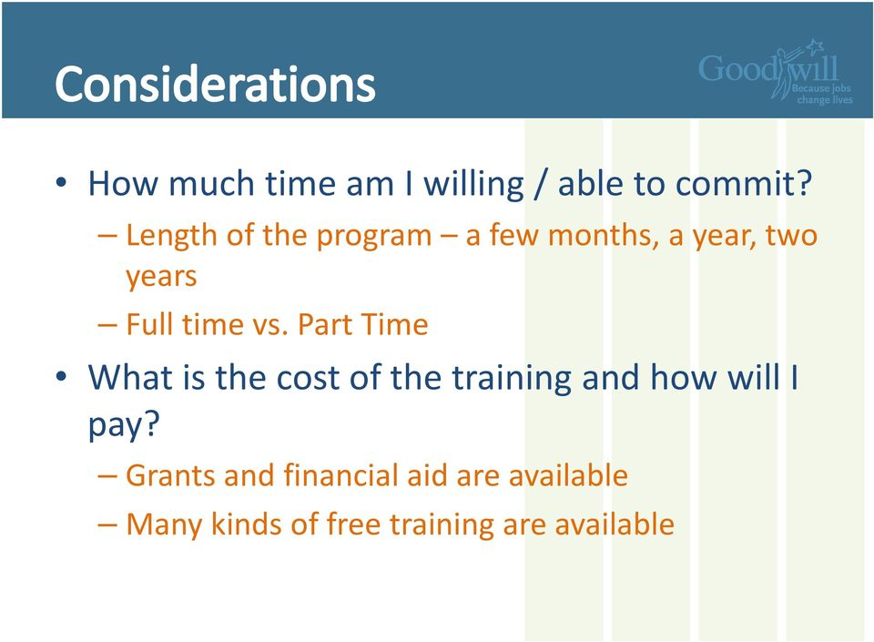 vs. Part Time What is the cost of the training and how will I