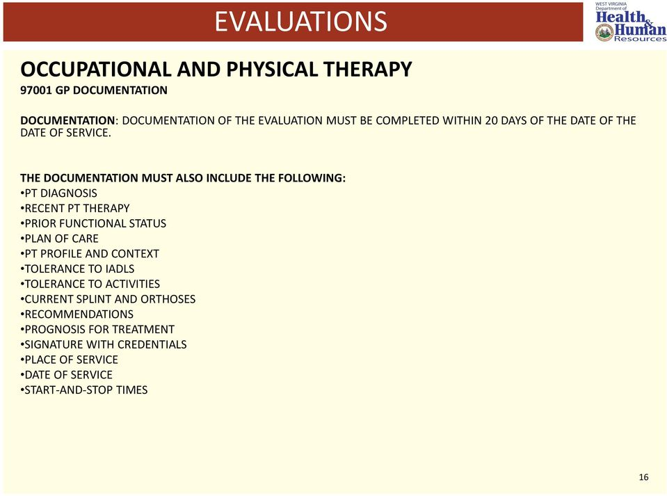 THE DOCUMENTATION MUST ALSO INCLUDE THE FOLLOWING: PT DIAGNOSIS RECENT PT THERAPY PRIOR FUNCTIONAL STATUS PLAN OF CARE PT PROFILE
