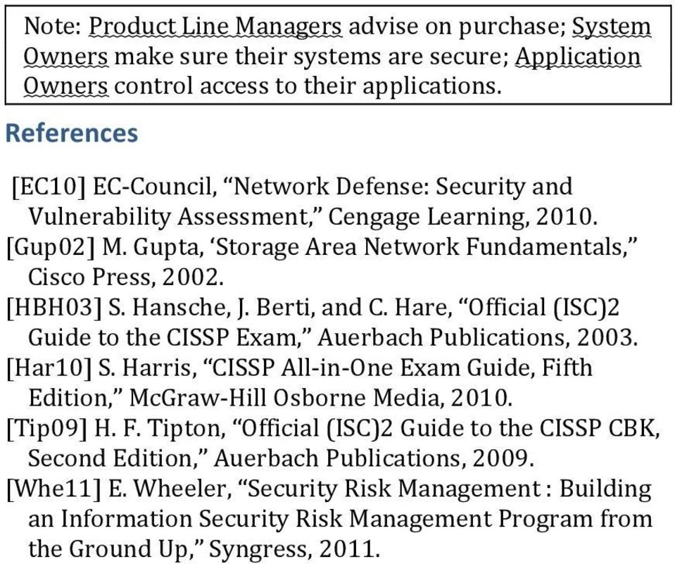 Hansche, J. Berti, and C. Hare, Official (ISC)2 Guide to the CISSP Exam, Auerbach Publications, 2003. [Har10] S.