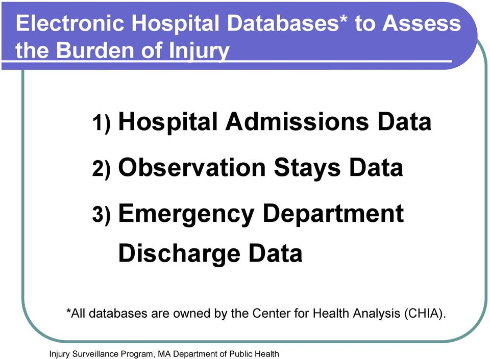 Data 3) Emergency Department Discharge Data *All