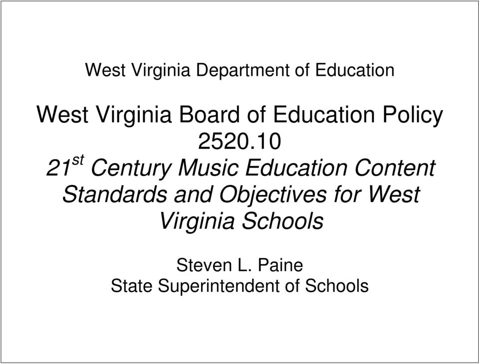 10 21 st Century Music Education Content Standards and
