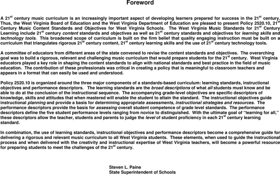 10, 21 st Century Music Content Standards and Objectives for West Virginia Schools.